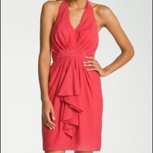 Vince Camuto Red Chrysanthemum Halter Dress